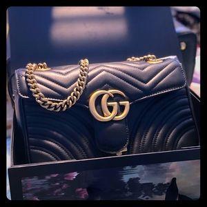 Gucci Marmont Medium Quilted Shoulder Bag, Black